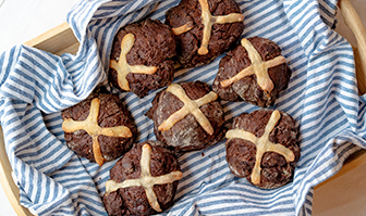 Chocolate Sourdough Hot Cross Buns
