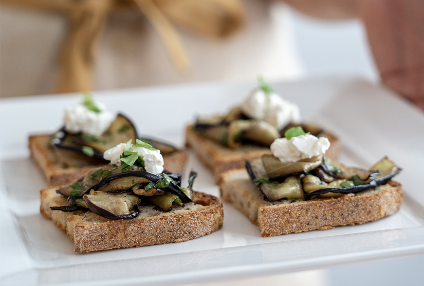 Aubergine and Herb Bruschetta