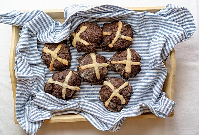 Chocolate Sourdough Hot Cross Bun Recipe